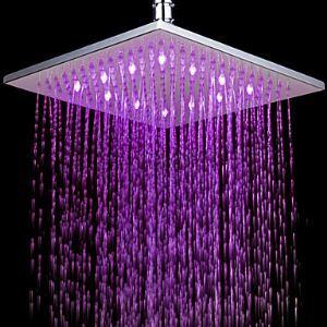 (Entrepôt UE) Contemporaine 7 couleurs changeantes LED Chromé chef robinet pommeau de douche de 10 pouces