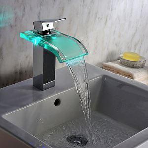 Contemporain chromé Robinet lavabo verre LED cascade d'énergie hydroélectrique