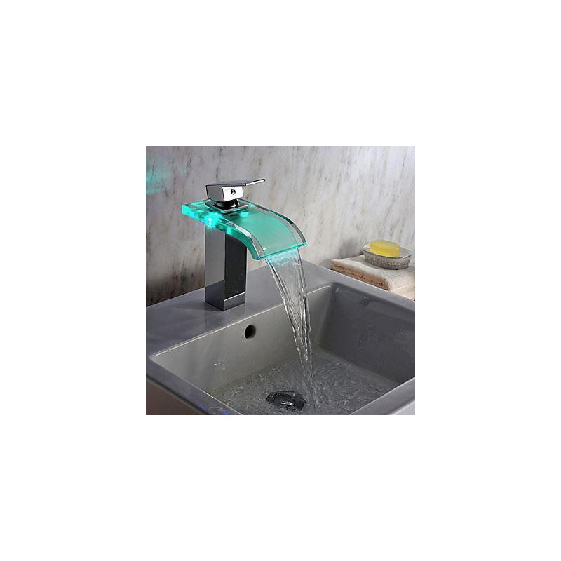 robinets robinet de lavabo robinet de bain led contemporain chrom robinet lavabo verre. Black Bedroom Furniture Sets. Home Design Ideas