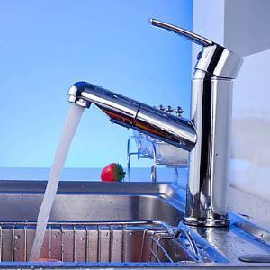 (Entrepôt UE) (En Stock) Chromée contemporain finition à tirer robinet mitigeur lavabo