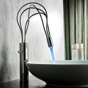 (Entrepôt UE)  Fini chromé contemporain mitigeur LED salle de bain lavabo robinet( hauteur )
