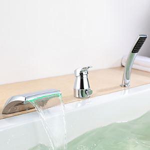 Couleur contemporain LED Changement hydroélectricité bain Robinet cascade avec douche à main
