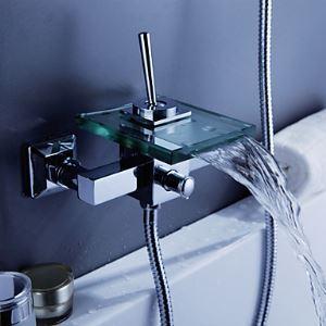 Contemporaine cascade baignoire robinet avec bec verre (support mural)