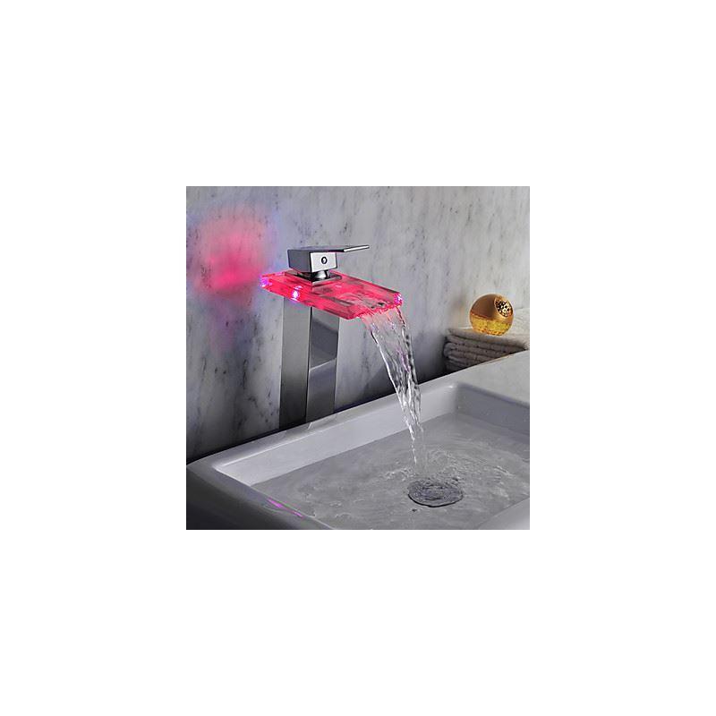 Entrep t ue robinet de lavabo chrom fini led cascade for Robinet salle de bain cascade led