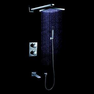 (Entrepôt UE) LED contemporain montage mural douche robinet (chromé)