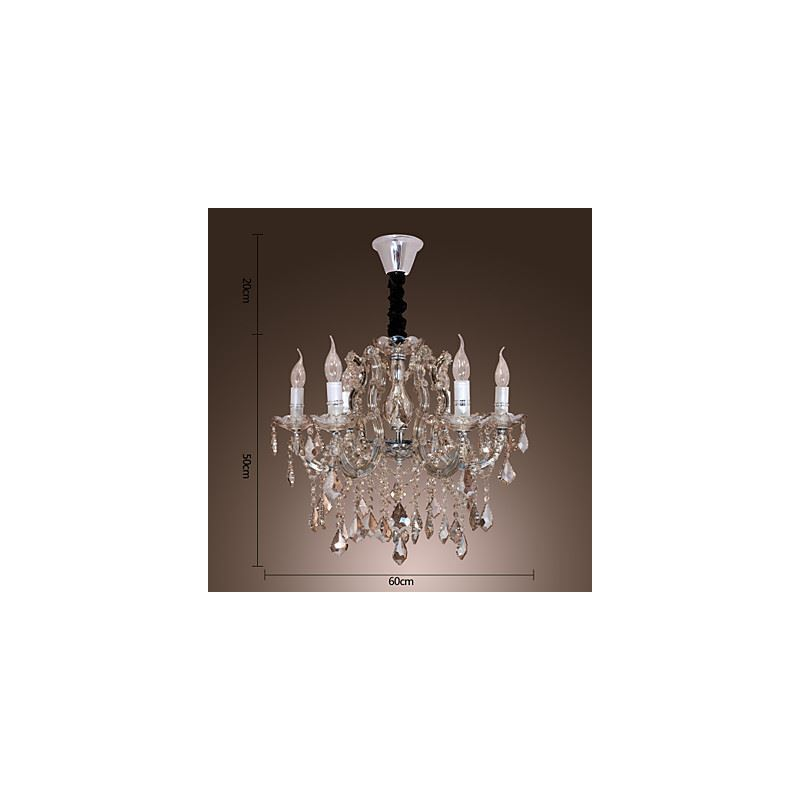 lustre en cristal de luxe 6 lumi res d 57 cm pour salle salon luxe. Black Bedroom Furniture Sets. Home Design Ideas