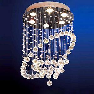 Moderne plafonnier encastré avec 6 lampes en forme de perle de cristal