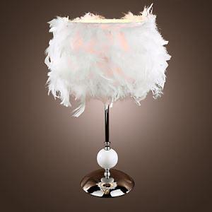 (Entrepôt UE) Lampe de table moderne avec abat-jour en plume Blanc
