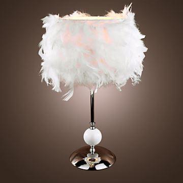 abat jour plumes blanches. Black Bedroom Furniture Sets. Home Design Ideas