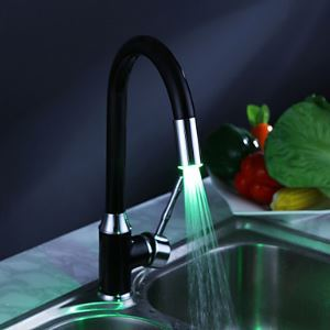 (Entrepôt UE) Robinet de cuisine de finition de peinture avec LED lumière changeante de couleur