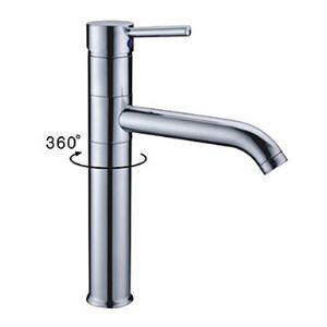 (Entrepôt UE) Robinet d'évier pour salle de bains pivotant chromé style moderne simple