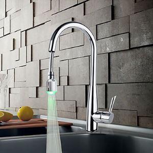 (Entrepôt UE) En laiton massif chromé finition robinet de cuisine avec LED lumière changeante de couleur