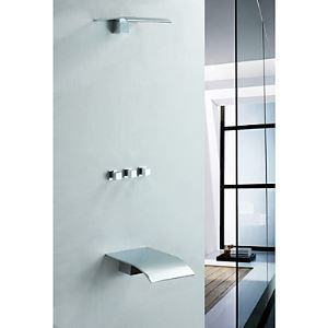 (Entrepôt UE) Laiton massif mural robinet de douche baignoire avec pommeau de douche