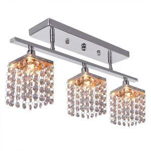 (Entrepôt UE) Lustre avec 3 lumières/lampes en cristal - conception linéaire(pas cher)