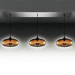3 - lampes moderne pendentif en verre Lampe suspendue en conception de bulle brun