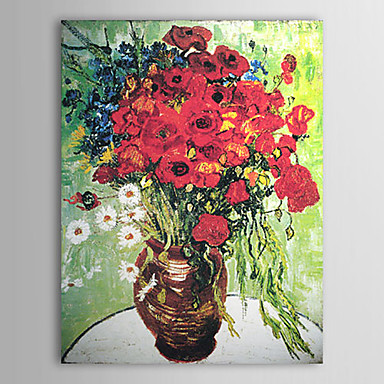 Art mural peinture l 39 huile nature morte vase peint - Peinture a l huile pour plafond ...