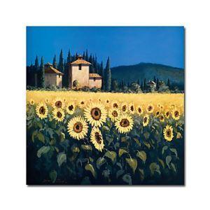 Peints à la main peinture l'huile florale avec cadre tendu