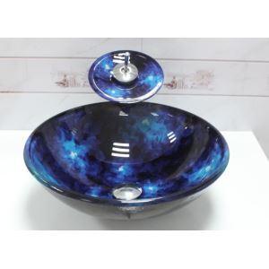 (Entrepôt UE) En verre trempé lavabo vasque Évier bleu avec robinet cascade,vidange et bague de fixation