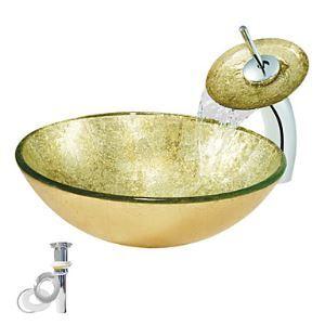(Entrepôt UE) En verre trempé Évier d'or avec robinet cascade,vidange et bague de fixation