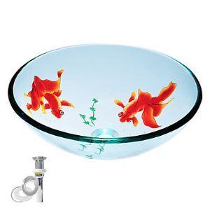 (Entrepôt UE) Trempé ronde verre Transparent évier et la bague de fixation