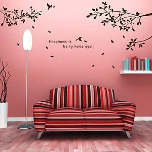 Style moderne sticker muraux décoratif à motif des branches d'arbres et d'oiseaux 12 couleurs à choisir pour chambre salon salle