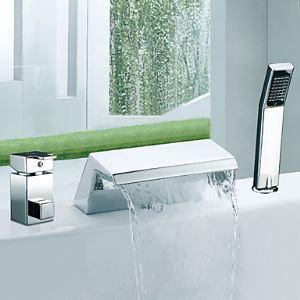 Deux poignées chromé Répandue cascade contemporaine avec douche à main Robinet de baignoire