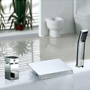 Deux poignées contemporain Chromé Répandue cascade robinet de baignoire avec douchette