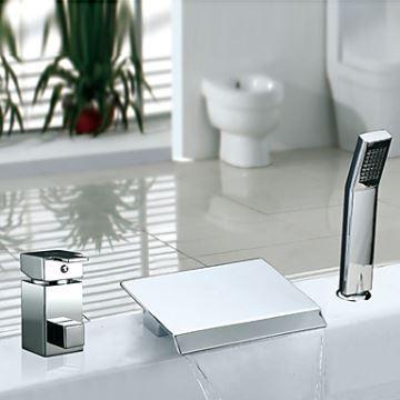 Robinet de baignoire avec douchette cascade chromé 2 poignées pour ...