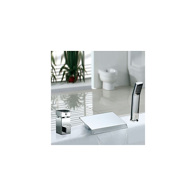 entrep t ue deux poign es contemporain chrom r pandue cascade robinet de baignoire avec. Black Bedroom Furniture Sets. Home Design Ideas
