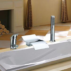 Robinet de baignoire avec douchette cascade chromé 2 poignées pour salle de bain contemporaine