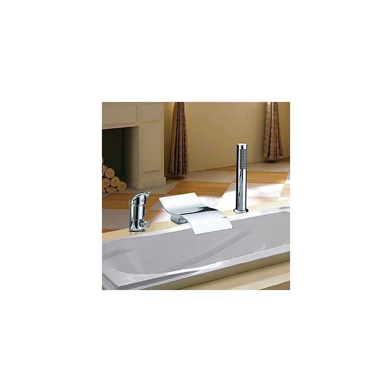 robinet de baignoire avec douchette cascade chrom 2 poign es pour salle de bain contemporaine. Black Bedroom Furniture Sets. Home Design Ideas