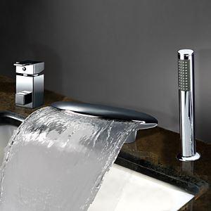 Deux poignées cascade Répandue contemporain chromé robinet de baignoire avec douche à main