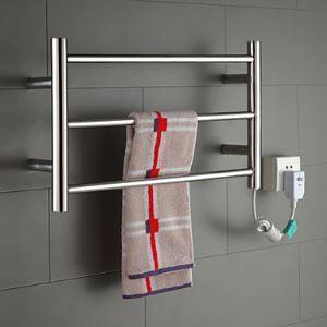 Afficher les détails pour (Entrepôt UE) 30W Sèche-serviette en acier inoxydable poli montage forage thermostatique