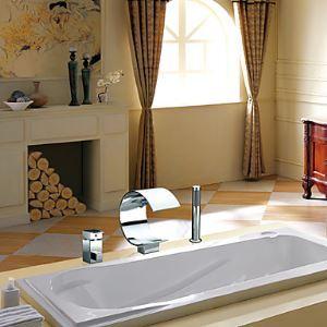 Robinet de baignoire avec douchette Cascade chromé 2 Poignées pour salle de bain