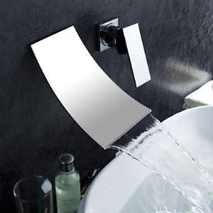 Cascade robinet d'évier généralisée de salle de bain contemporaine (finition chromée)