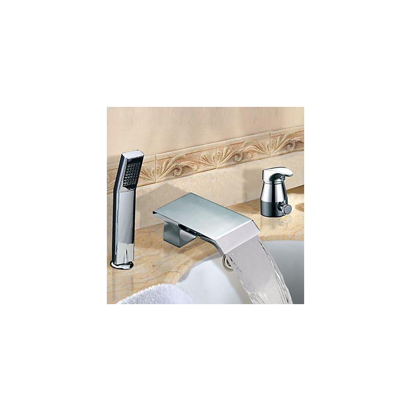 robinet de baignoire cascade avec douchette chrom 2 poign es contemporain pour salle de bain. Black Bedroom Furniture Sets. Home Design Ideas