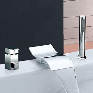 Robinet de baignoire avec douchette 2 poignées chrome pour salle de bain moderne simple