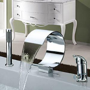 Robinet de baignoire avec douchette pour salle de bain contemporain 2 Poignées chromé cascade