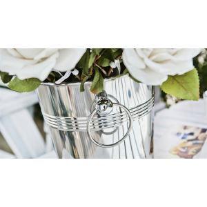 (Entrepôt UE) Seau de fleur contemporain en acier inoxydable