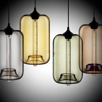 Suspension Verre Transparent H34cm Lampe Bulle Luminaire