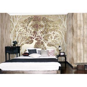 Forêt cerfs contemporain papier intissé Mural