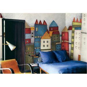 Château coloré contemporain papier intissé Mural