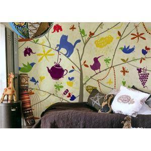 Enfants colorés contemporains Non tissé en papier Mural