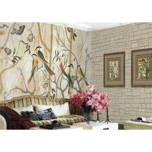 Peinture murale de la forêt heureux contemporain papier non-tissé