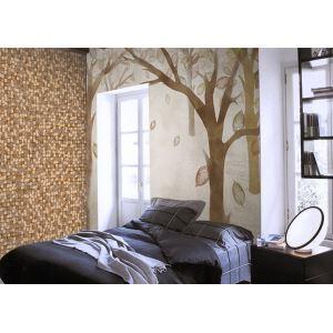 Mur de papier Non tissé contemporain petit bloc de bois