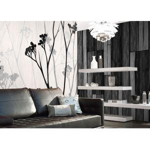 Papier peint de panneau en bois gris contemporain papier non-tissé