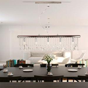 (Entrepôt UE)Style Moderne/contemporain Mode rectangulaire luxe Suspension en cristal 5 lumières pour salle salon chambre