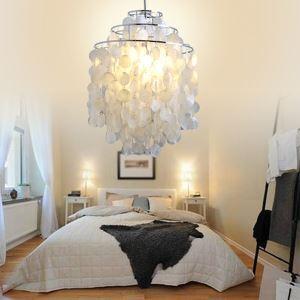 (Entrepôt UE) Lustre/lampe moderne blanc en coquille pas cher