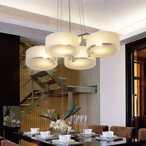 (Entrepôt UE) Lustre acrylique avec 4 lampes (finition chromée)