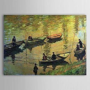 Pêcheurs de la célèbre peinture à l'huile sur la seine à poissy